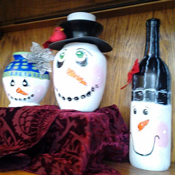 snowman bottles and vases