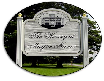 This sign will greet you when you arrive at The Winery at Marjim Manor in Appleton, NY.